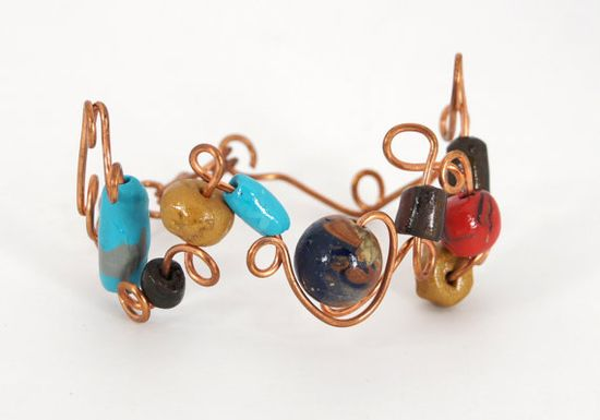 Women's Twisted Copper Wire Bracelet wirh Swirls and by LifesAMaze, $27.00