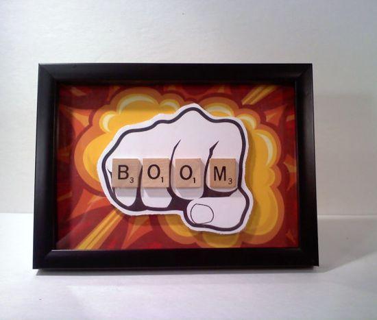 Framed Mixed Media 3D Art, BOOM