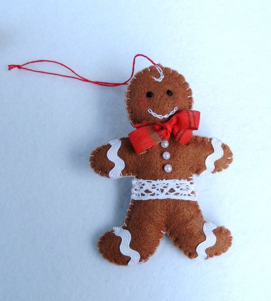 Felt Gingerbread Man, Felt Christmas Decoration Tree Handmade Ornaments. Eco Friendly childrens toy