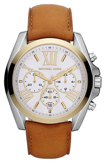 Michael Kors 'Bradshaw' Leather Strap Watch