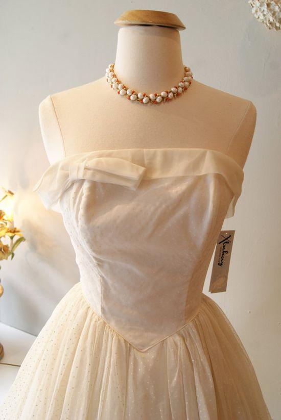 1950's Wedding Dress // Vintage 50s Swiss Dot by xtabayvintage, $498.00