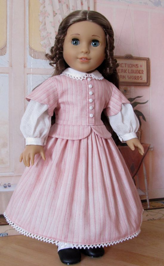 Mid 1800's Day Dress  Fits 18 American Girl by KeepersDollyDuds, $124.49