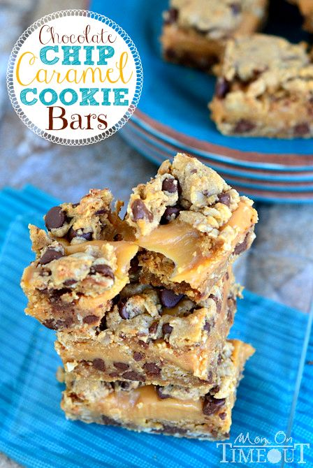 Chocolate Chip Caramel Cookie Bars are SO good with a sweet, gooey, caramel center!