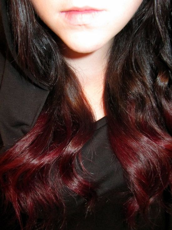 I dig this....I feel I need a major hair change....TWO pieces - Ombre / Dip Dye Human Hair Extensions - Dark brown to deep vibrant red. $30.00, via Etsy.