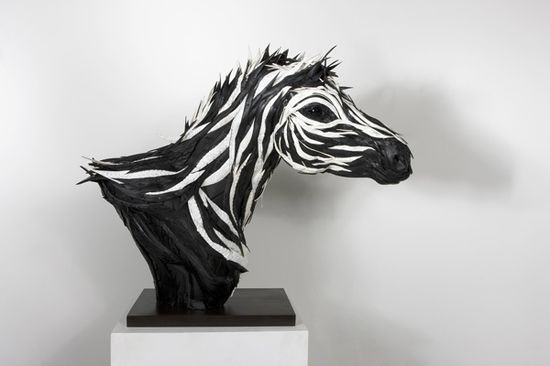 Zebra sculpture made from an upcycled tire