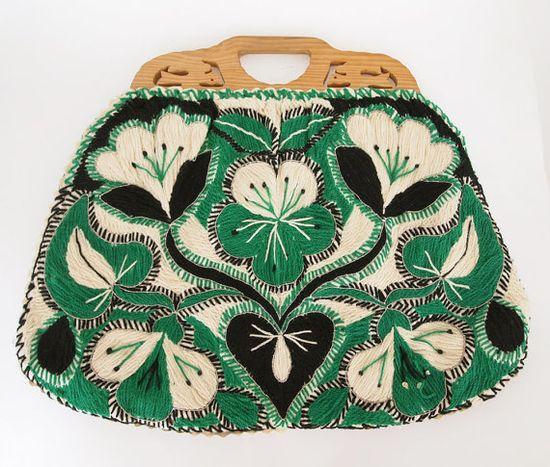 Vintage Green & Black Embroidered Knitting Bag