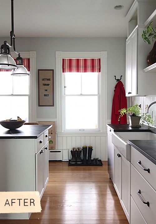 kitchen makeover in black, white, gray and red.