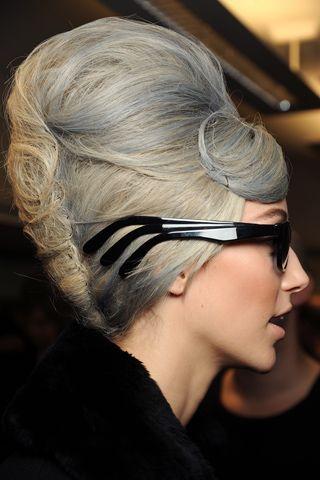 Grey hair + beehive at Jean Paul Gaultier
