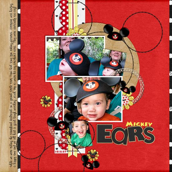 ears, Disney scrapbook layout