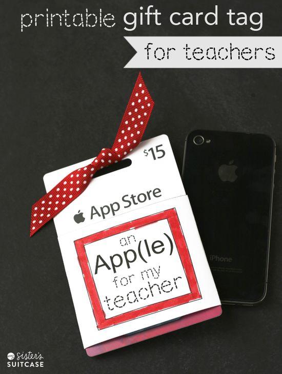 Printable Gift Card Tag for Teachers–