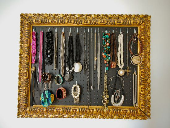 Idea! Frame with jewelry - made with vintage frame, pegboard from Home Depot, hooks from Home Hardware