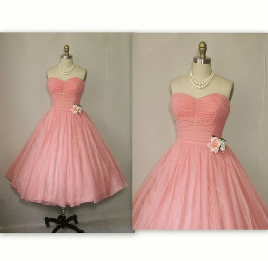 1950's Ruched Chiffon Strapless Prom Wedding Party Dress (via TheVintageStudio on @Etsy!) #dress #fashion #clothing