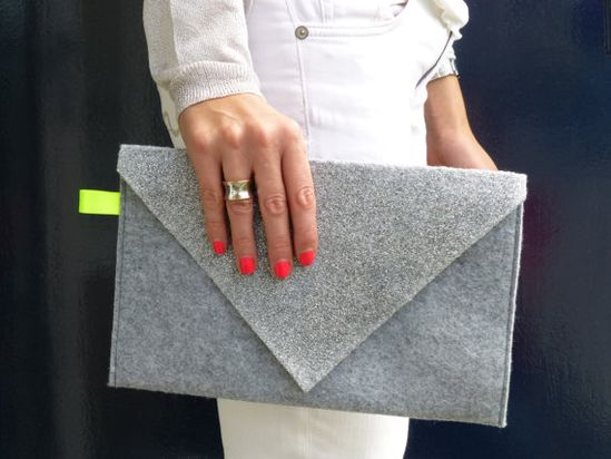 Light Grey Felt Envelope Clutch Bag with Silver and Neon accent.