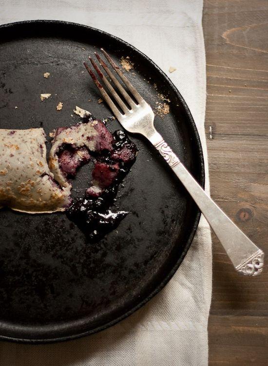 Norwegian pancakes with blueberries.