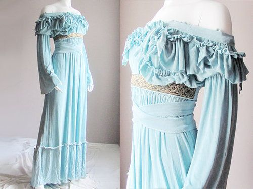 Reproduced medieval wedding gown in pale aqua.