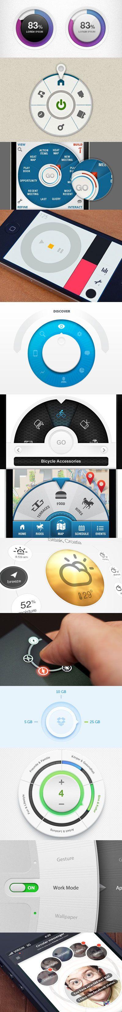 Circular mobile UI elements