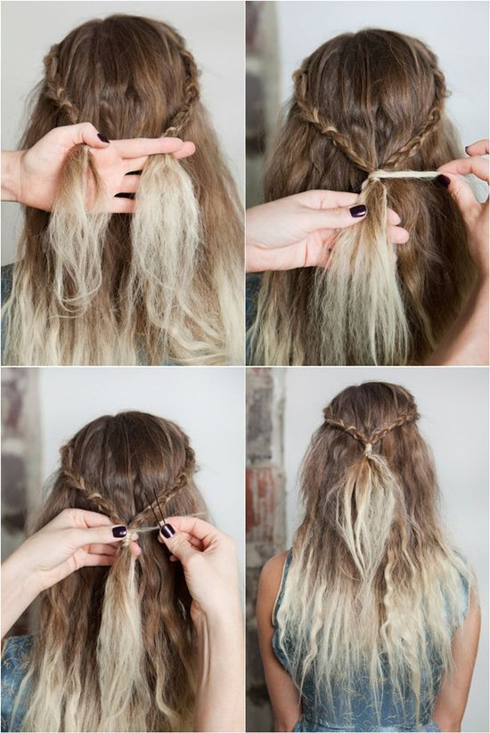 waterfall braids hair tutorial