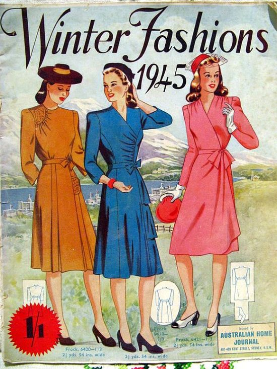 Australian Home Journal Winter Fashions 1945. #vintage #1940s #dresses #fashion