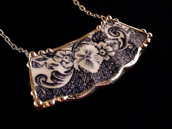 Blue Transferware Floral Toile Broken China Jewelry Necklace made from an antique broken plate