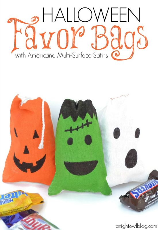 Cute and easy to make Halloween Favor Bags at anightowlblog.com