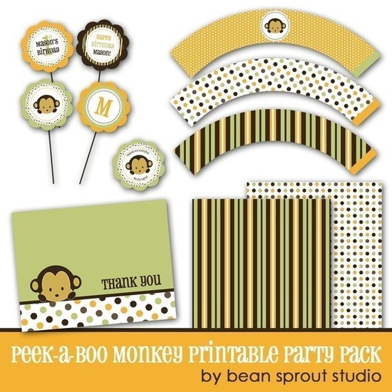 Monkey printable pack #baby #shower #diy