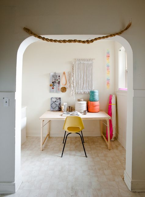 Ashley Helvey and Miles Pederson Home via DesignSponge Textile artist workspace. Colour pops