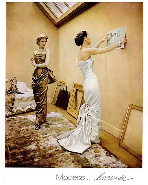 Because a lady should always dress to the nines, even when merely hanging art around the house :))) #vintage #1950s #evening #gown #1950s #fashion #elegant #clothing #women #models