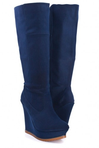 Very Cute, Navy Wedge Boots $38.99