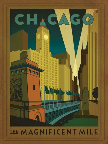 Vintage travel poster for Chicago