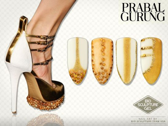 Prabal Gurung shoes with Bio Sculpture creative nail art