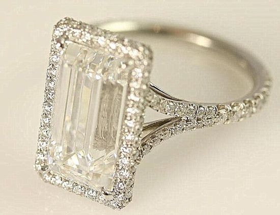 GIA certified - 5 carat - Emerald Cut Diamond engagement ring - solid Platinum- Luxury - engagement - bride - weddings. $100,000.00, via Etsy.