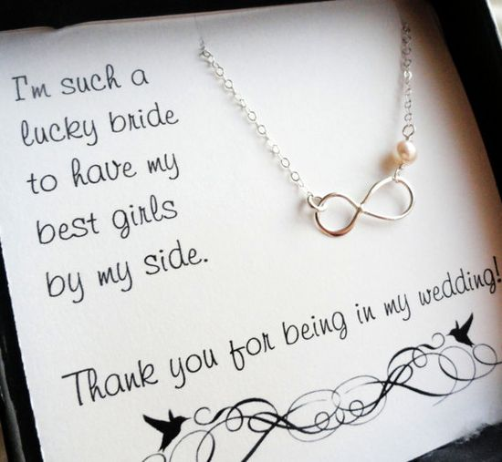 Bridesmaid thank you card with infinity necklace