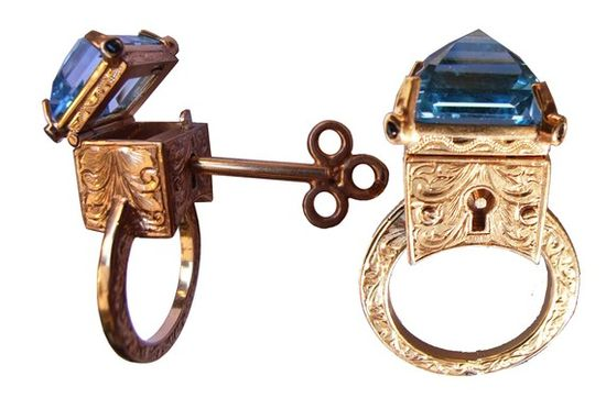 Topaz Locking Poison Ring with Key on Chain by MetalCoutureJewelry, $3500.00