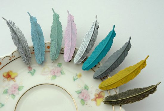 SHOP SALE- 1 Patina Feather Hair Clip. You Choose Color on Etsy, $5.00