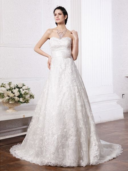 Sweetheart  Applique Lace Ball Gown Wedding Dress