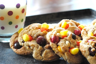 Pay Day Cookies with peanuts, candy corn and peanut butter m and m candies