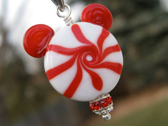 Very Merry Peppermint Mickey Mouse Necklace Pendant Disney Lampwork Glass Sterling Silver. $23.00, via Etsy.