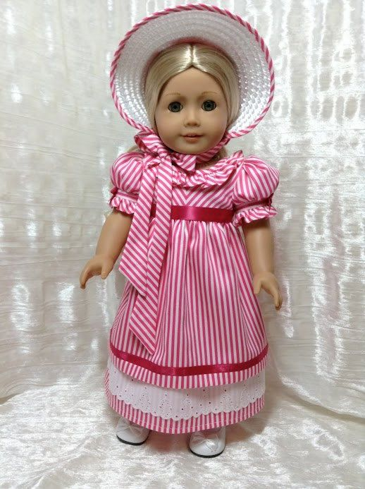 RESERVED Regency pink and white stripe dress by DollSizeDesigns, $139.00