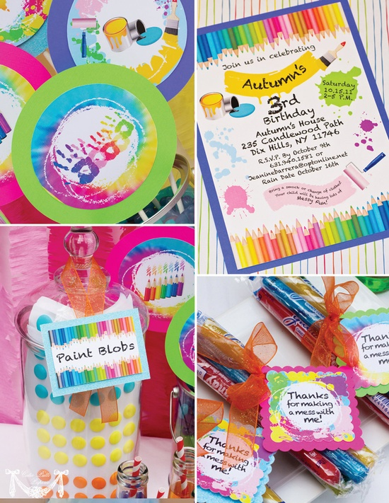 Art Party, Rainbow Party - PRINTABLE CUSTOMIZED INVITATION- Cutie Putti Paperie. $15.50, via Etsy.