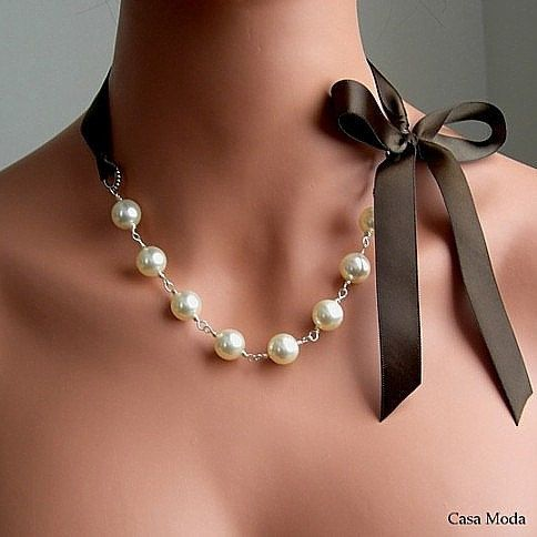 Pearls with brown bow