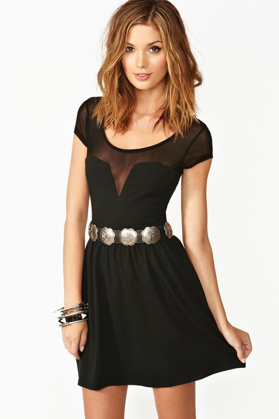 Mesh Skater Dress in Black