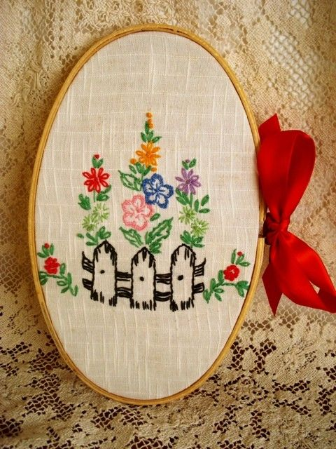 vintage embroidery wall hanging