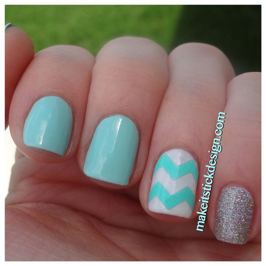 Large Pattern Chevron Nail Decals - YOU PICK COLOR - Set of 60 strips on Etsy, $5.00