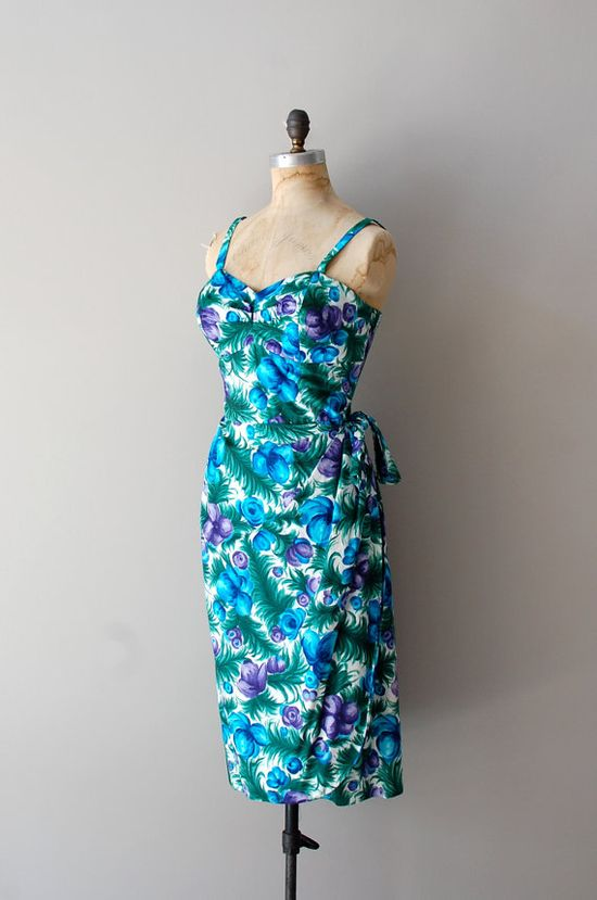 1950s Blue Hawaii sarong dress  #summer #fashion #floral #dress #1950s #partydress #vintage #frock #retro #sundress #floralprint  #romantic #feminine