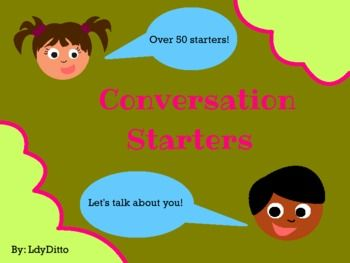Fun Conversation Starters. Repinned by SOS Inc. Resources. Follow all our boards at pinterest.com/... for therapy resources.