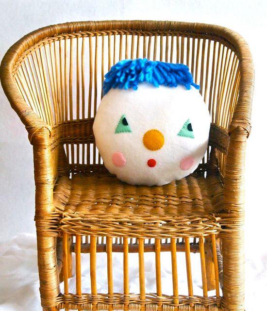 Plush clown decorative pillow