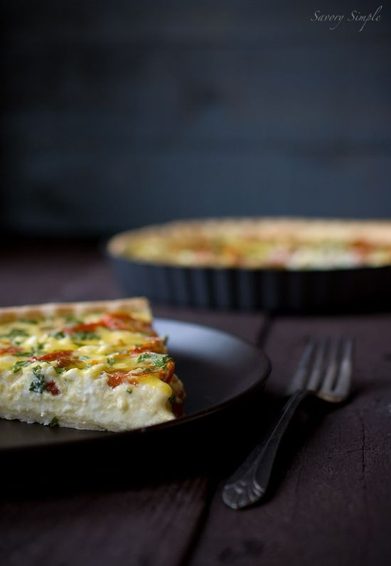 Roasted Tomato and Goat Cheese Quiche ~ Savory Simple