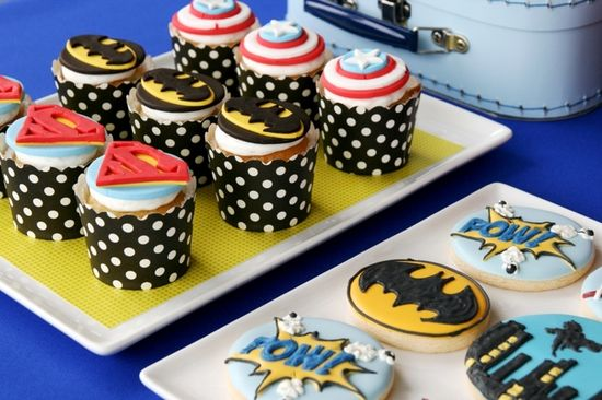 Awesome themed treats at a Superhero Party.  See more party ideas at CatchMyParty.com.  #superheropartyideas