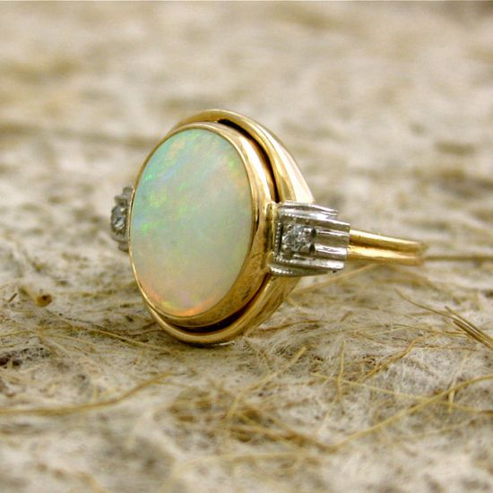 vintage two-toned opal diamond ring