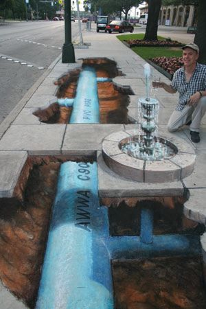 Julian Beever is an English artist who's famous for his art on the pavement of England, France, Germany, USA, Australia and Belgium Beever gives to his drawings an amazing 3D illusion